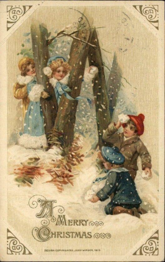 Children's Snowball Fight 1913 Winsch Postcard