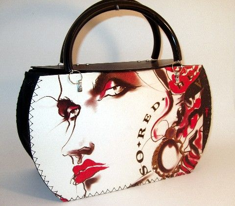 Purse made from vinyl record and cover. Arcadia by Nick Rhodes of Duran Duran