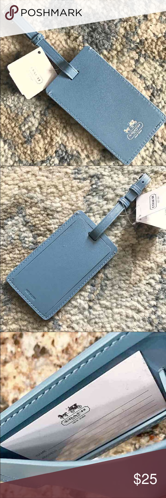 """NWT - COACH Luggage Tag Authentic COACH Luggage Tag - color: Chambray (muted/neutral medium blue) with Coach carriage/name embossed & in silver - size: 4 1/4"""" x 2 1/2"""" - Blank ID Label inside with spaces for name, address, phone, email - NWT Coach Bags"""