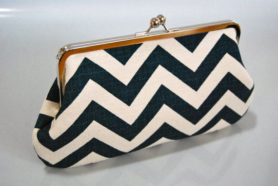 Items similar to Large Clutch - Chevron Zig Zag Blue on Etsy