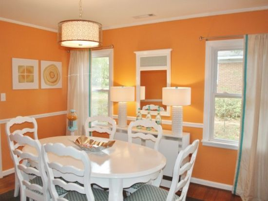Die farbe orange für ihr esszimmer farbe orange weiße stühle