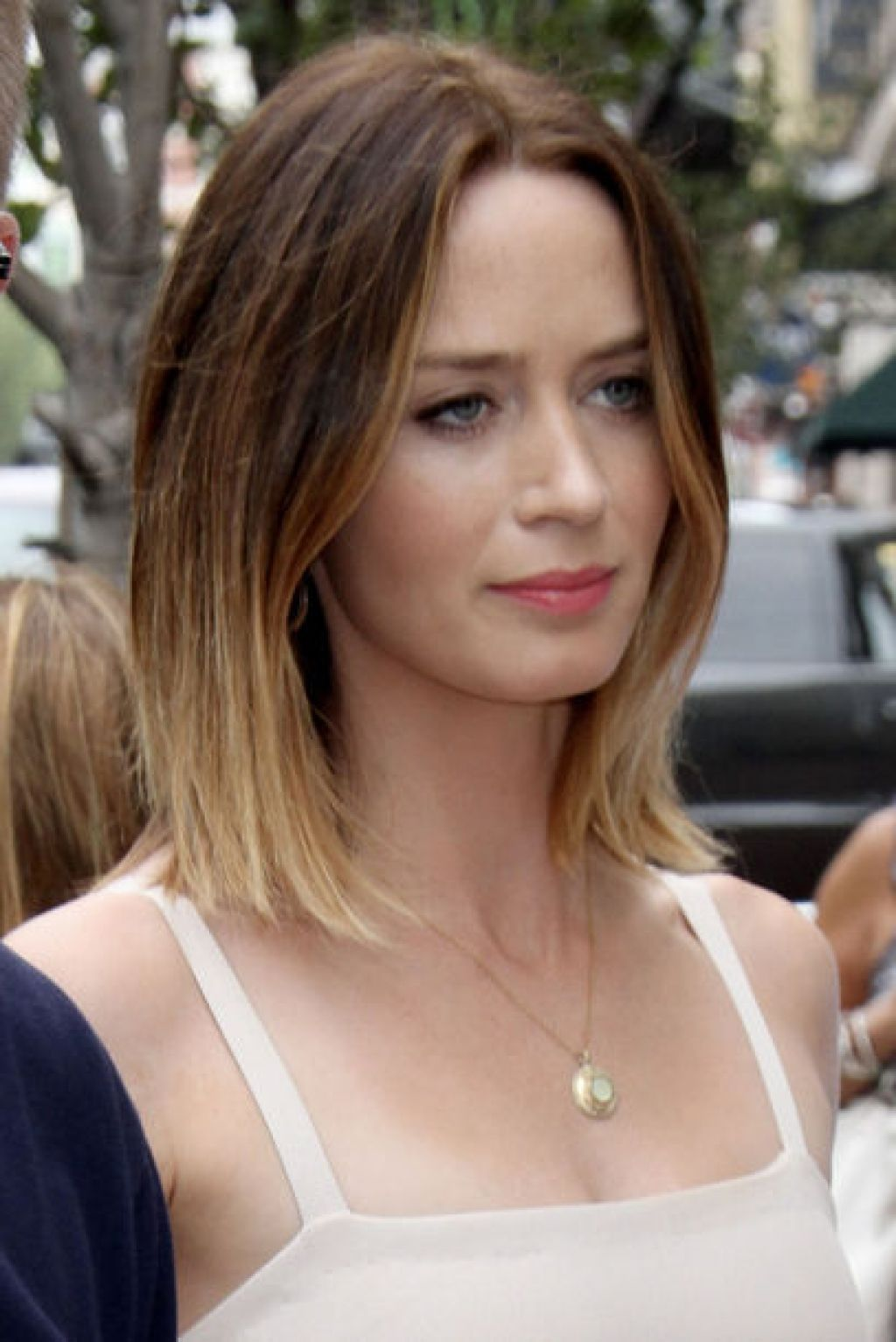 Short blunt bob hairstyle with bangs short hairstyles - Emily Blunt S Ombre Bob