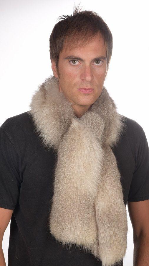nuovo arrivo 6dcb5 f173f Sciarpa in vera pelliccia di volpe grigia per uomo www ...