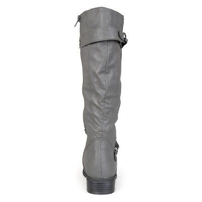 3ed4f16b3250 Women s Journee Collection Extra Wide Calf Ankle Strap Buckle Knee-High  Riding Boots - Grey 7.5 Extra Wide Calf
