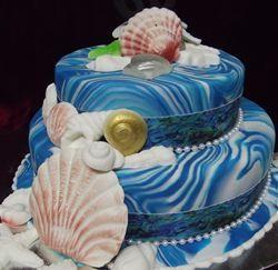 Edible Cake Images New Zealand : MOANA PAUA SHELL TRIM WEDDING CAKE , WITH PAUA SHELL ...