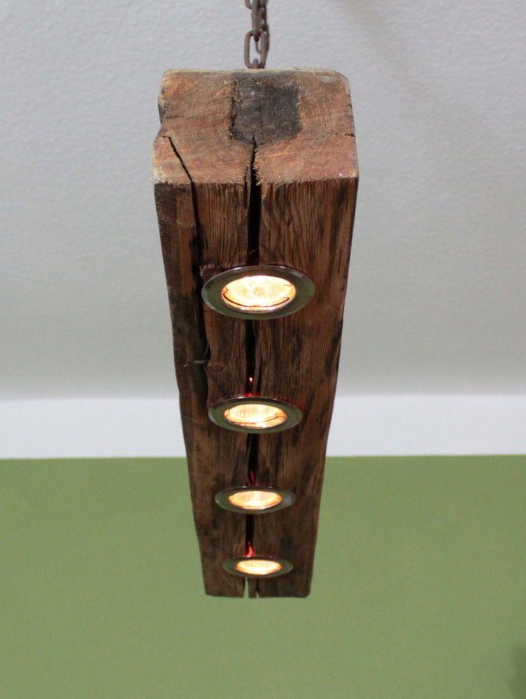details zu deckenlampe aus altholz mit 2 dimmbaren led. Black Bedroom Furniture Sets. Home Design Ideas