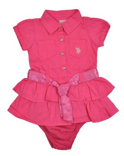 U S Polo Assn Baby Girls Infant Double Ruffled Dress With Bow Tied