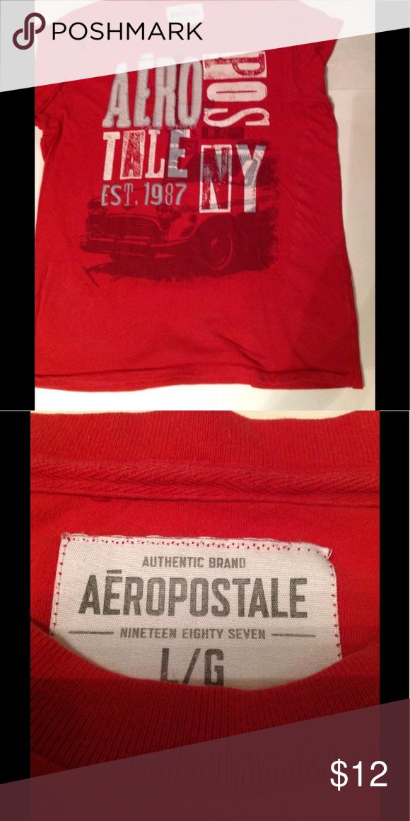 Aeropostale T Shirt Size Large Red EST. 1987 100% Cotton Aeropostale Shirts Tees - Short Sleeve