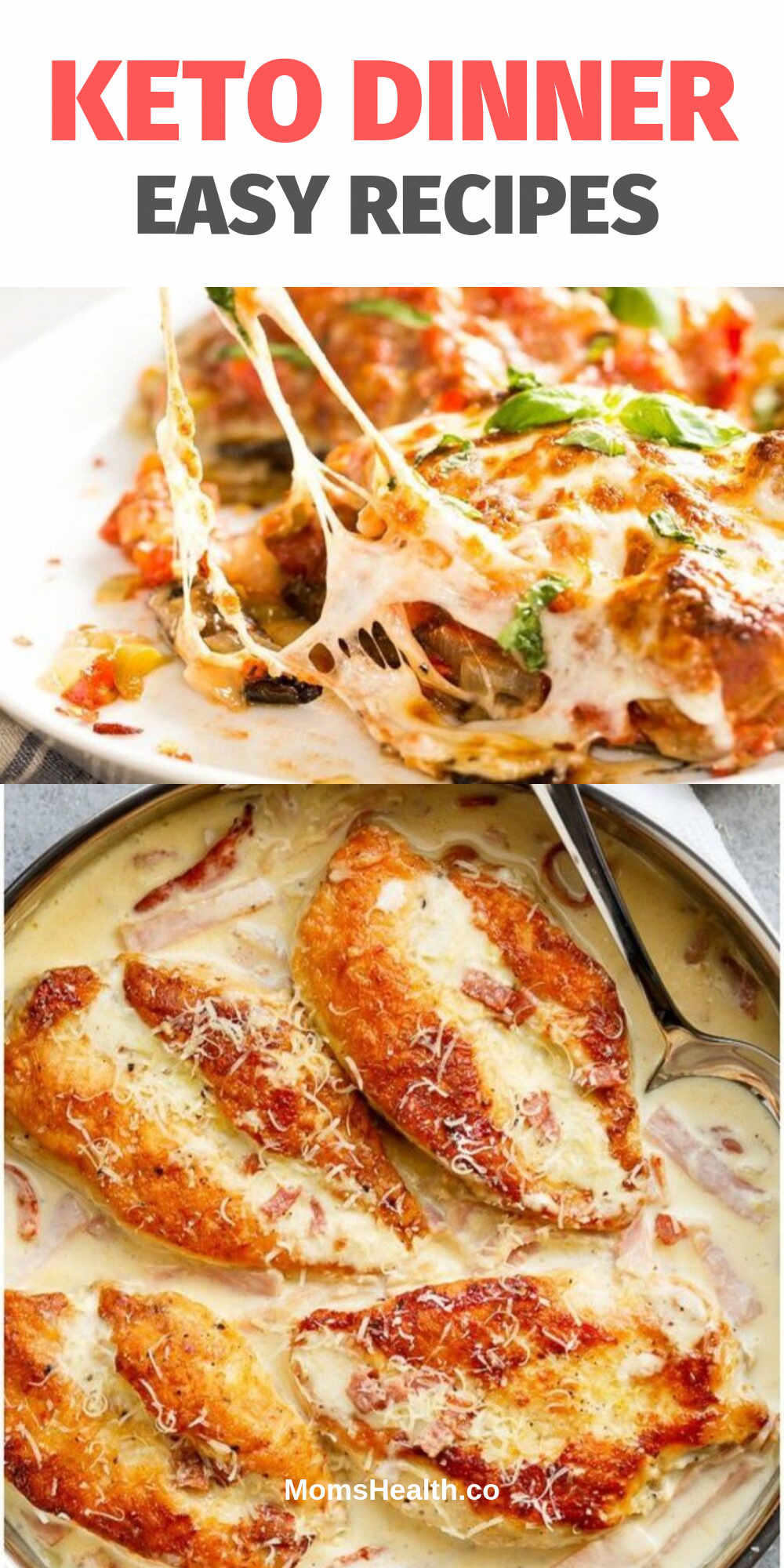 Keto dinner recipes and you will never feel like you are on a diet! Ketogenic diet only seems to be difficult and strict. In fact, there are so many options of healthy keto recipes that you can open an entire new Keto world, just follow new posts on MomsHealth.co! #keto #recipe #dinner #lowcarb #ketogenic #recipes #food #healthyfood #lchf #TheBestKetogenicDietForWeightLoss #strictketo