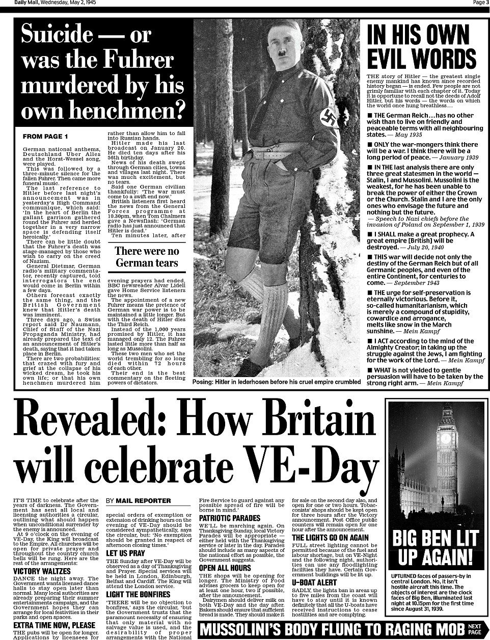 Daily Mail pages from day Adolf Hitler died 70 years ago this week #dailymail