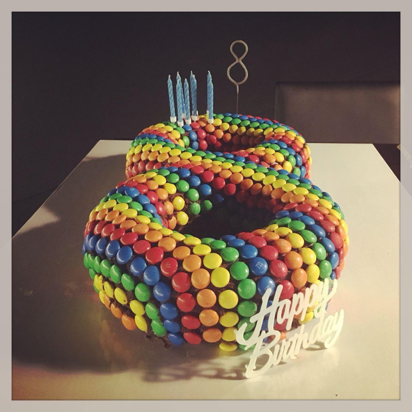 Rainbow MMs birthday cake  8 years old   Cake Ideas