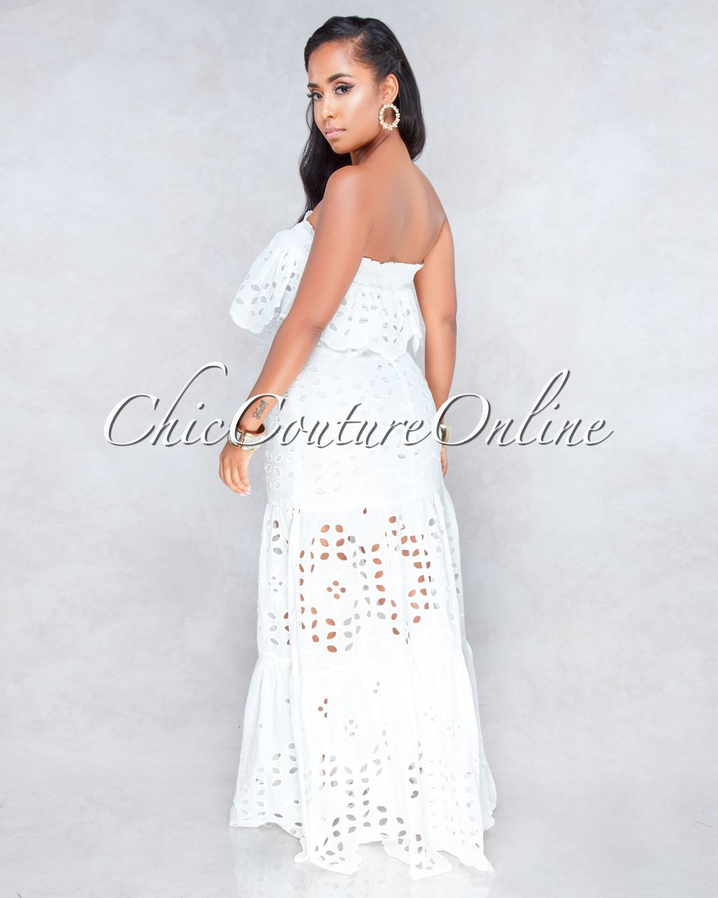 43bfc4a54a7b Chic Couture Online - Calvin Off-White Eyelet Two Piece Maxi Skirt Set