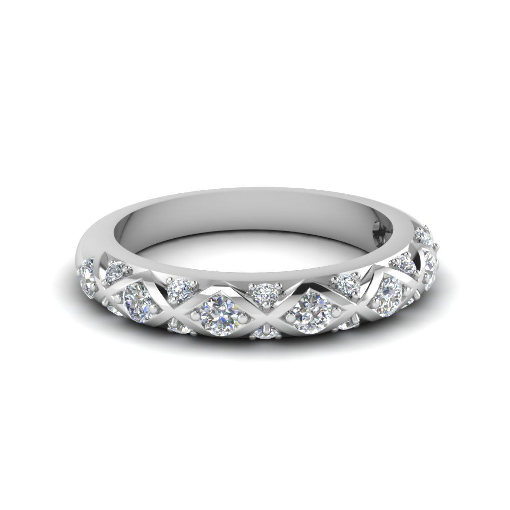 Interwoven pave diamond band for women in k white gold fdensb