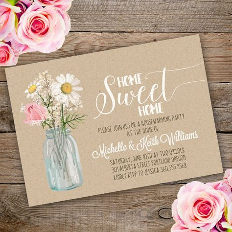 Printable Floral Housewarming Invitation Template Invite Your