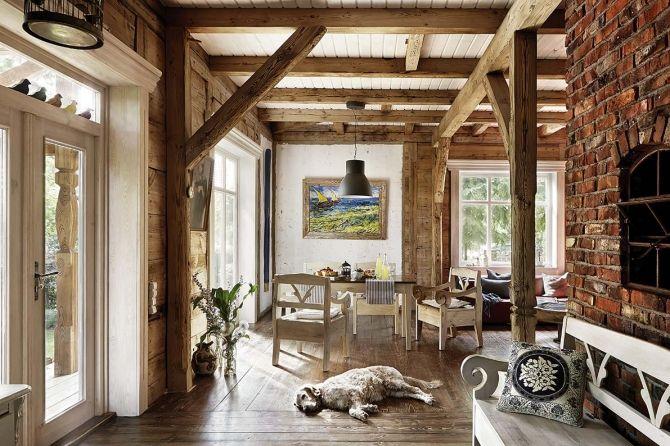 Fabrika de case living spatios cu elemente rustice living in