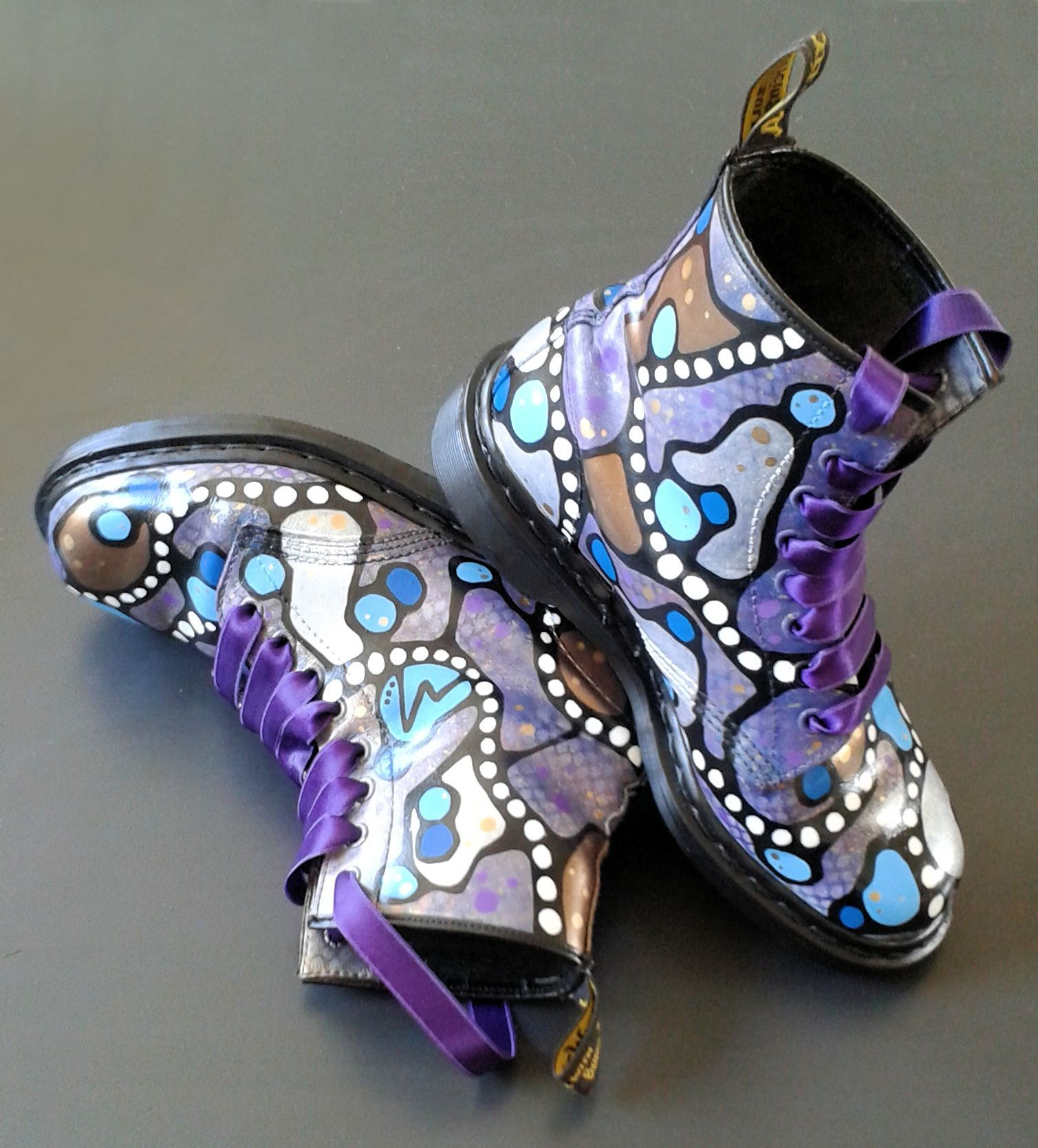 1438118788cda My latest project  Custom painted Dr. martens boots   Third pair. I  combined two passions of mine  painting designing   Doc Martens shoes !