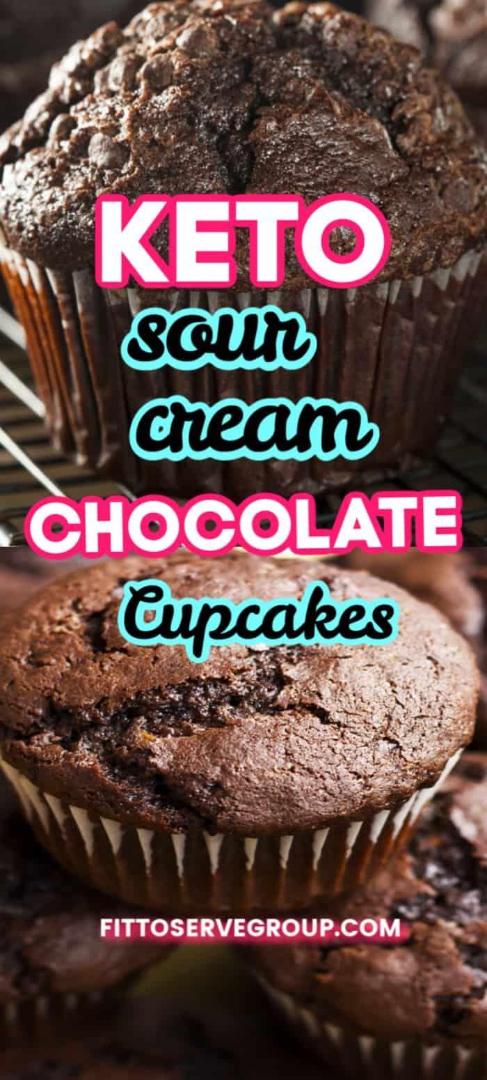 Easy Keto Sour Cream Chocolate Cupcakes In 2020 Keto Cupcakes Keto Dessert Recipes Moist Chocolate Brownies
