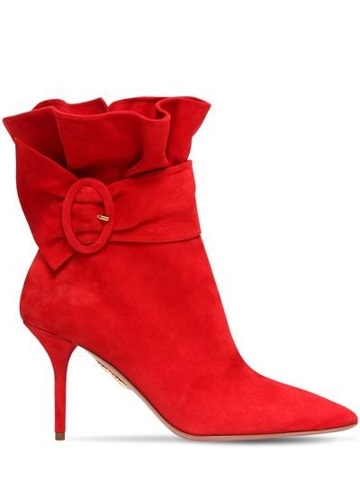 01de4d04e1add AQUAZZURA 85mm palace ruffled suede ankle boots that are red in color, have  an 85mm