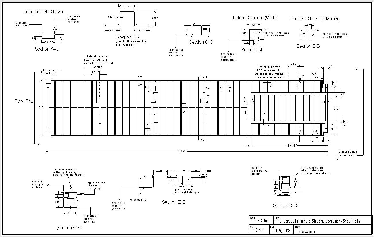 Underside Framing Of Shipping Container Sheet 1 2 Shipping Container Dimensions Shipping Container Container Dimensions