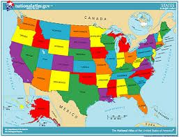 America 50 States Map.United States Of America U S A Strong Geography Social