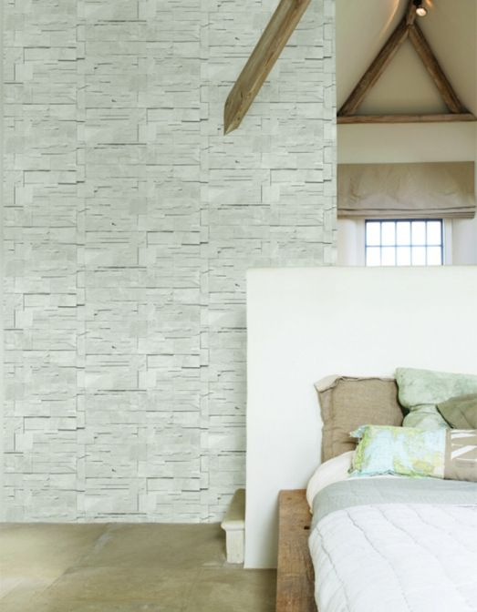 Block Stone Ash Faux Brick Wallpaper For A Bedroom