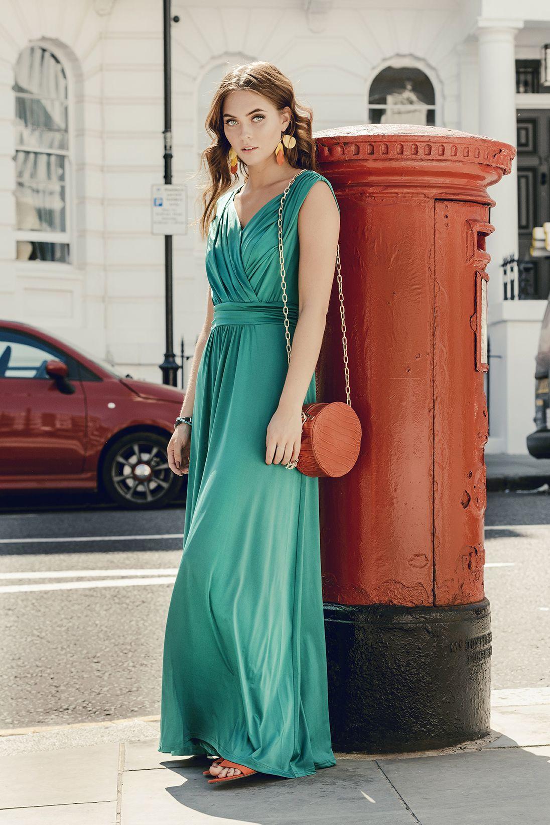 Jolie Moi Jessica Maxi Dress Available In 5 Colours Vintage Style Elegant Dress Green Dress Occasion Dress Plunge Wrap Dress Wrap Dress Dresses [ 1642 x 1096 Pixel ]