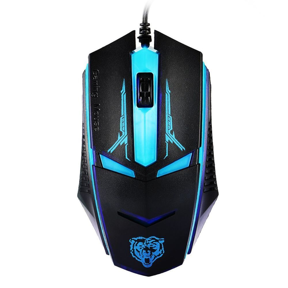 Optical Wired USB Ergonomic Gaming Mouse with LED Light Glowing Eyes ...