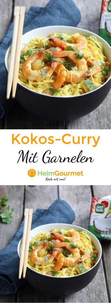 CURRY-GLASNUDELN in Kokosmilch mit Garnelen #garlicshrimprecipes