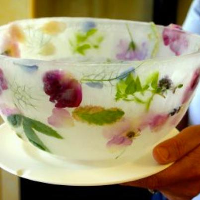 Create an Ice Bowl Ice bowl, Food, Edible flowers
