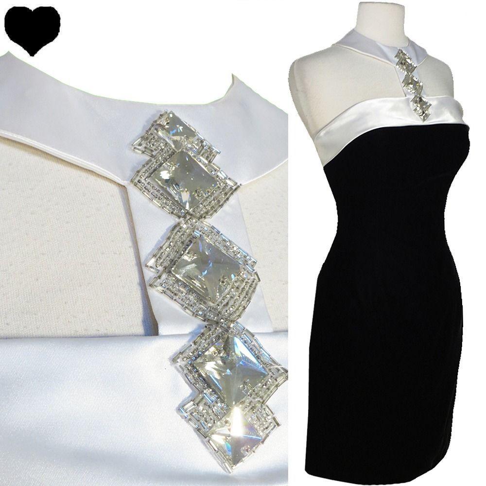 Vintage s s black velvet white halter cocktail party prom dress