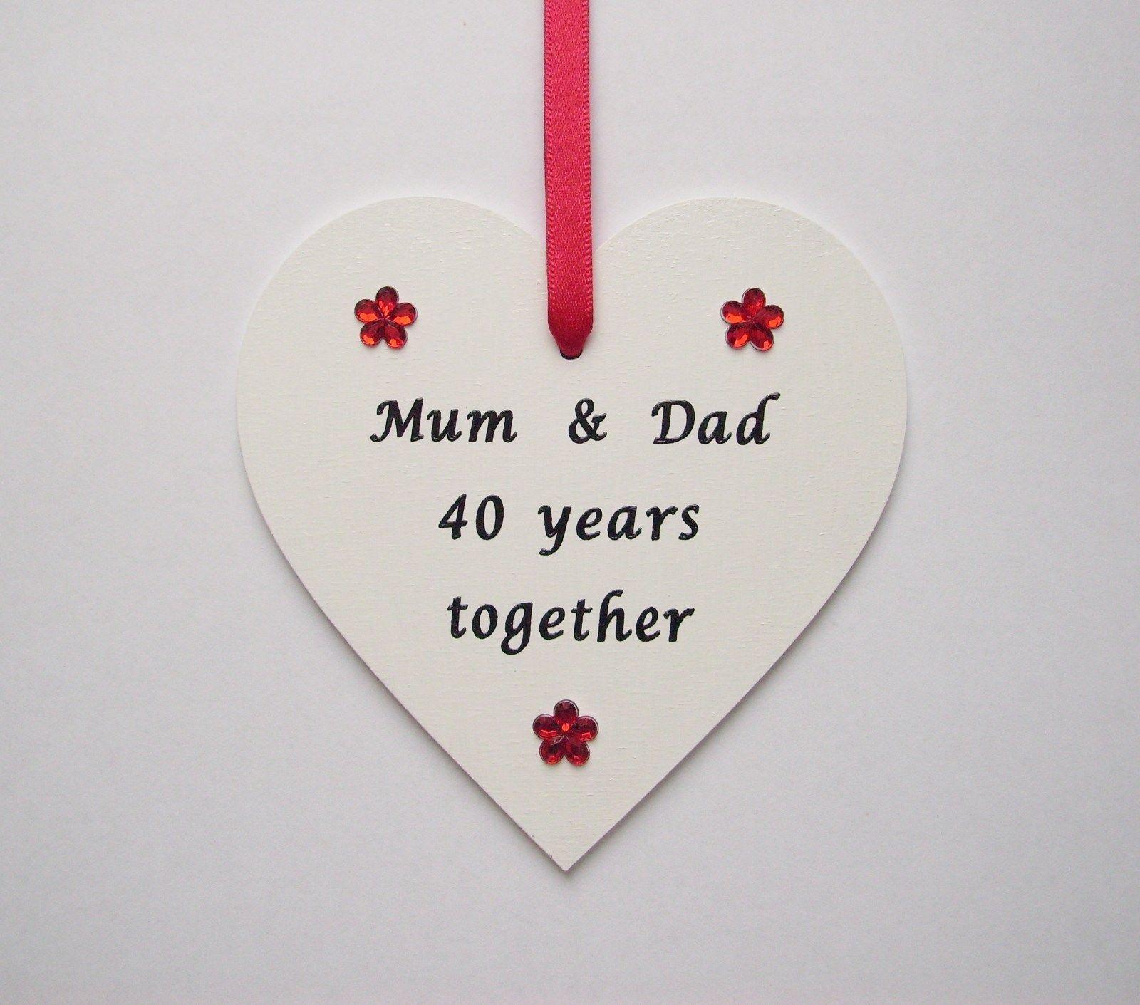 Personalsied Ruby Wedding Anniversary Wooden Keepsake Plaque Gift