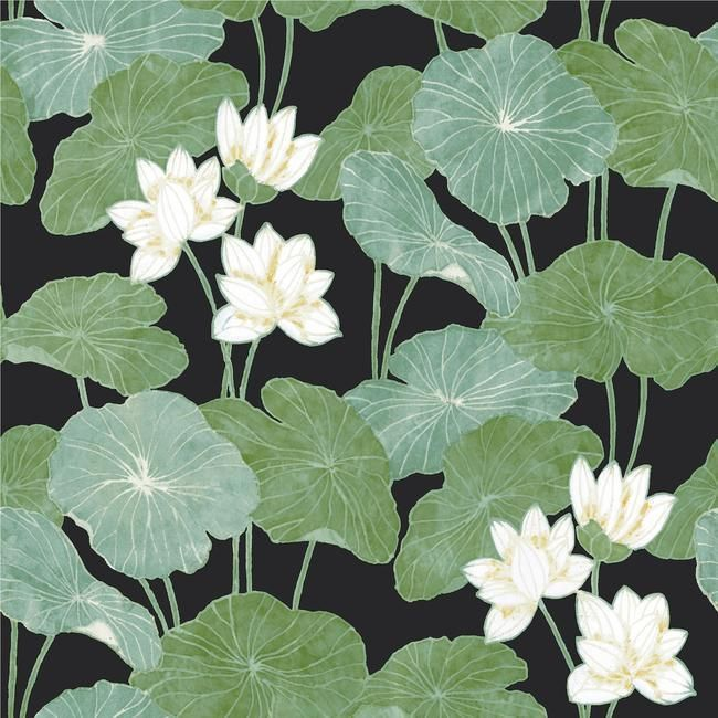 Lily Pad Peel Stick Wallpaper In Black And Green By Roommates For Yo Peel And Stick Wallpaper Lily Pads Wallpaper