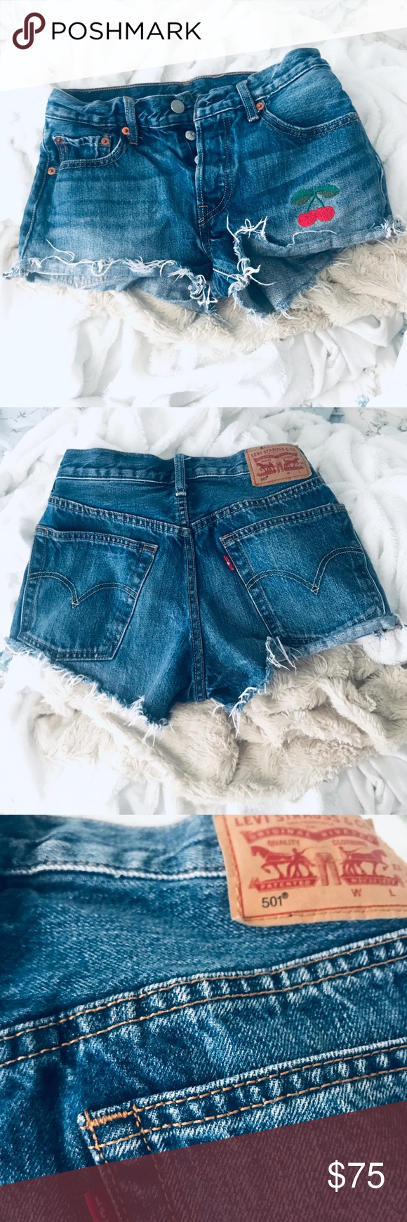 1e575f8af2 501 high waist shorts worn once , rare design accept offers Levi's Shorts  Jean Shorts