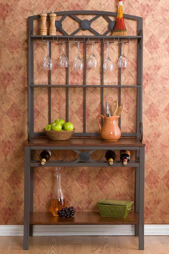 Decorative Baker S Rack With Wine Storage Baker S Racks