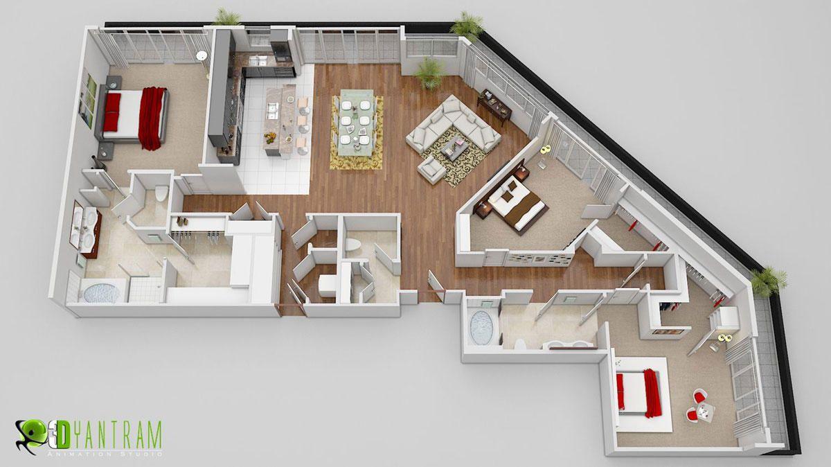 Yantram Animation Studio 3d Floor Plan Design Interactive 3d Floor Plan Floor Plan Design Bathroom Floor Plans Architectural Design Studio