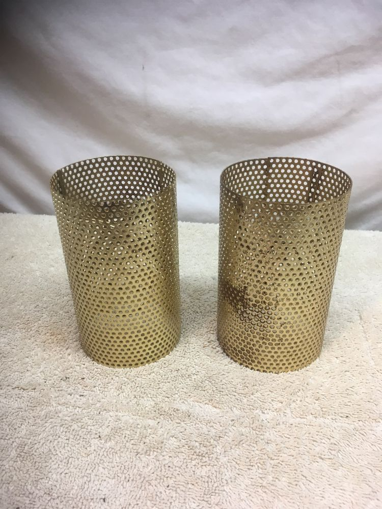Vintage Pair Of Mid Century Modern Atomic Metal Wire Mesh Gold Table Lamp Shades Midcenturymodern Table Lamp Shades Gold Table Lamp Lamp Shades