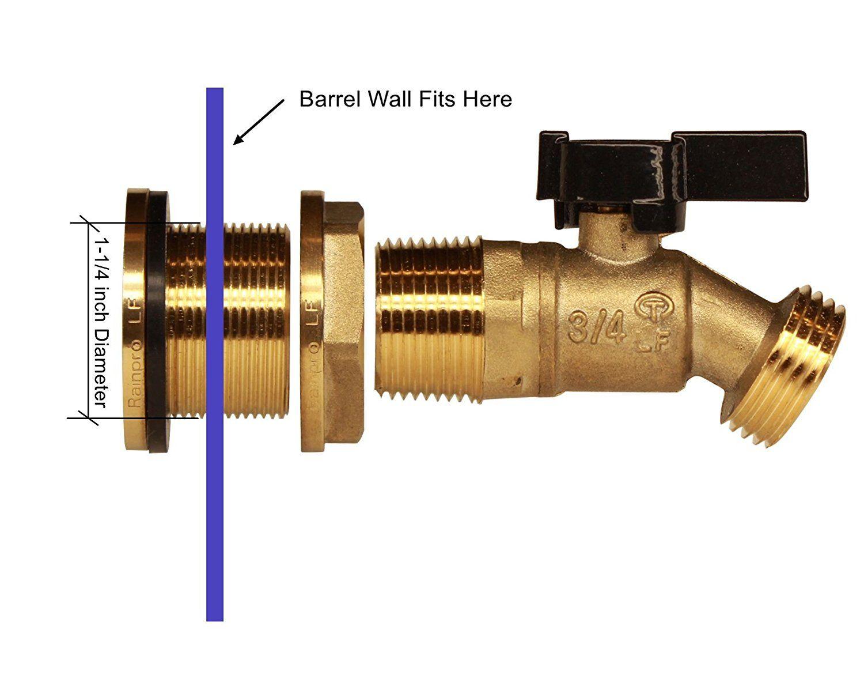 Rainpro Brass Rain Barrel Quarter Turn Ball Valve Spigot With Bulkhead Fitting Rain Barrel Barrel 10 Things