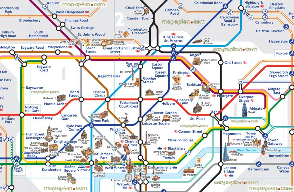 Map Of London With Sights.London Map London Tube Map With Attractions Underground Within Map