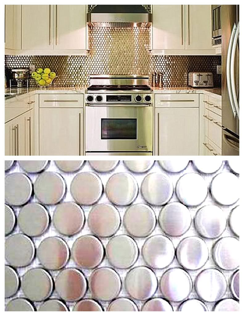 This guys thoughts on backsplashes are priceless oh yeah i white kitchen with silver penny tile backsplash dailygadgetfo Images