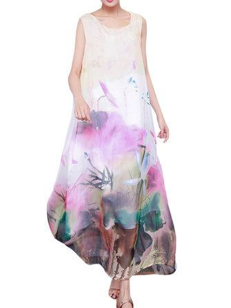 Elegant Women Sleeveless Chinese Style Printing Chiffon Maxi Dress