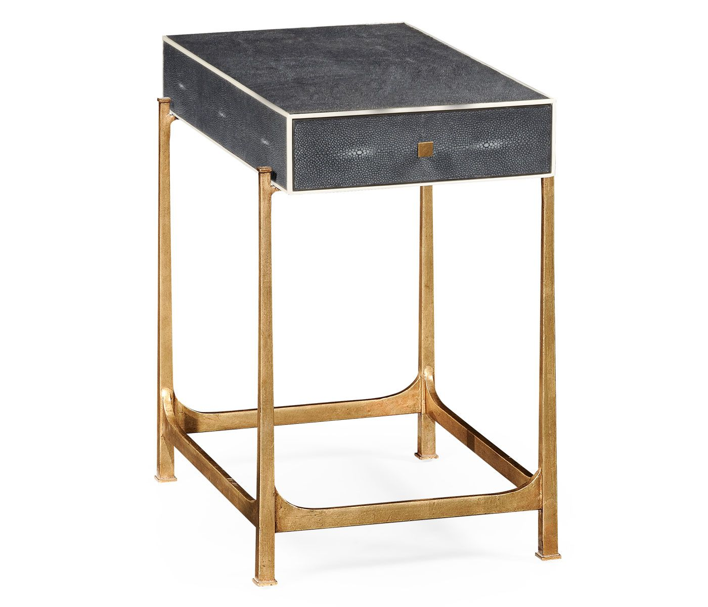 Anthracite Faux Shagreen U0026 Gilded Iron Side Table