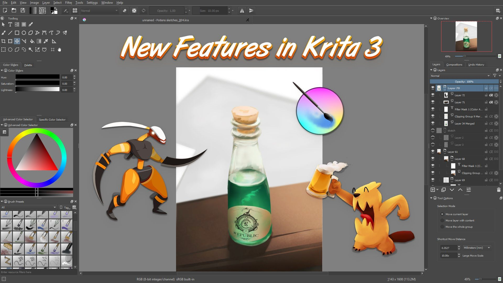 What S New In Krita 3 0 Krita Review Krita Art Instructions