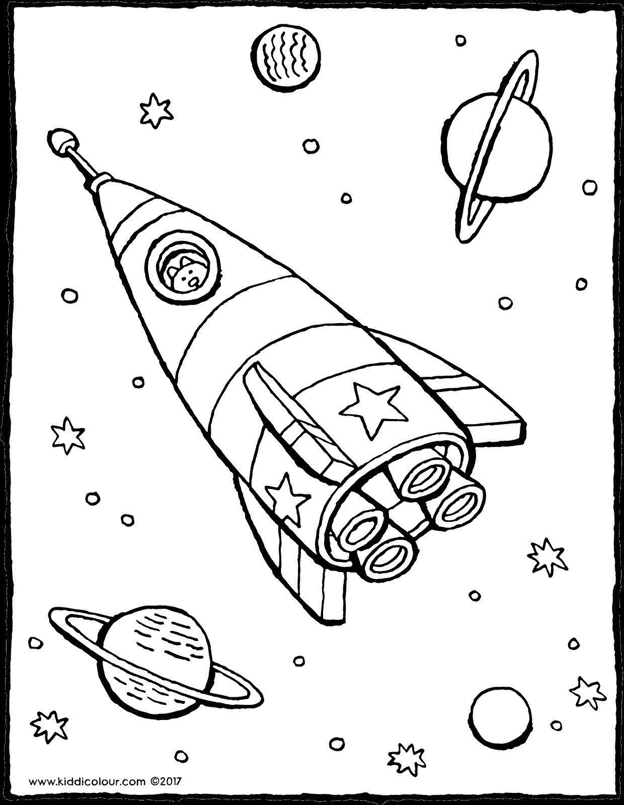 Raket In De Ruimte Kiddikleurplaten Kiddikleurprenten Kleurplaten Voor Kinderen Ruimte Thema Kleurplaten