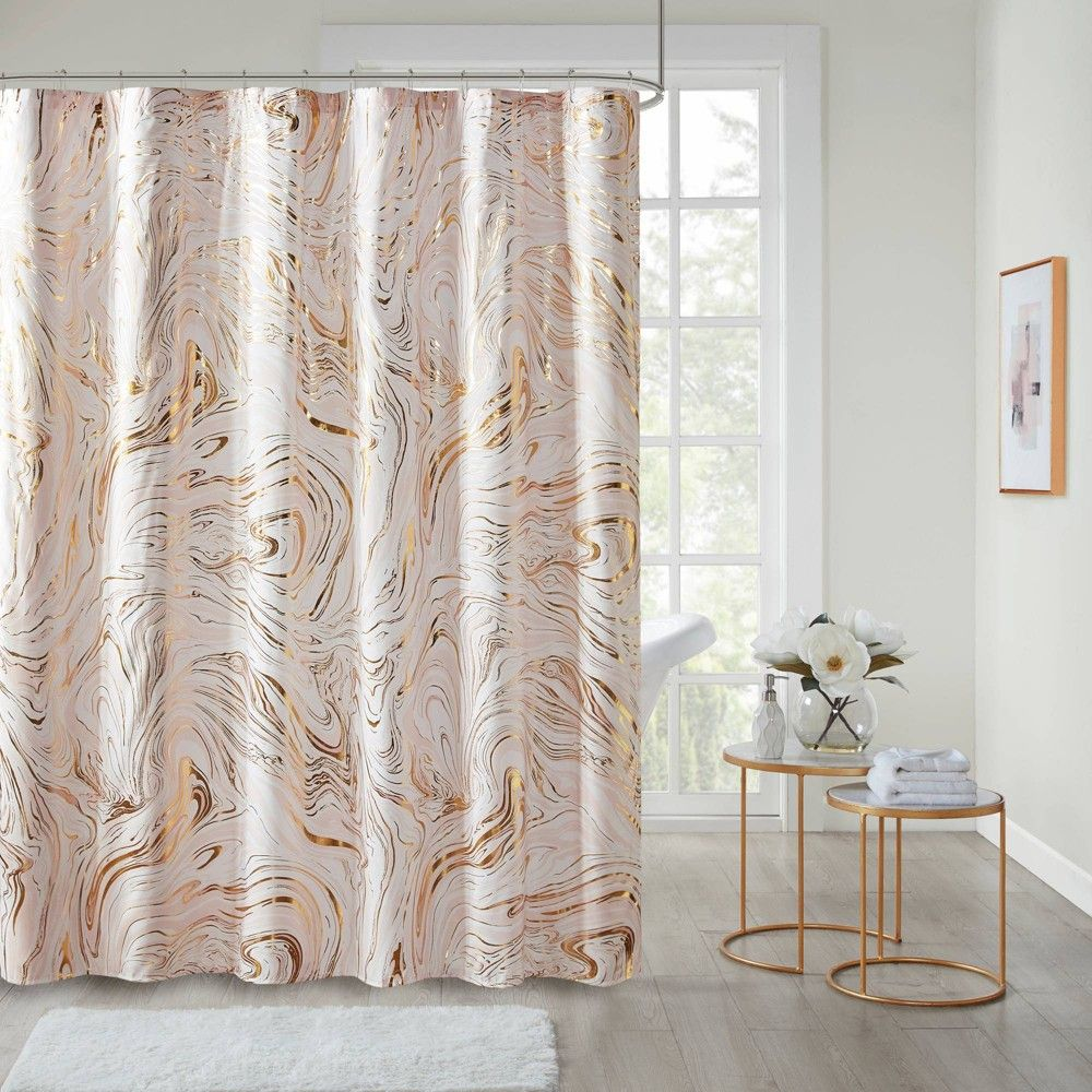72 X72 Vanessa Printed Marble Metallic Shower Curtain Blush Gold