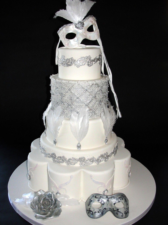 Venetian mask feathers party inspired mardi gras wedding cake white ...