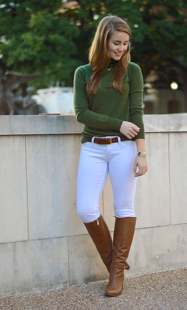 green turtleneck   ivory skinny jeans   riding boots | Fashion ...