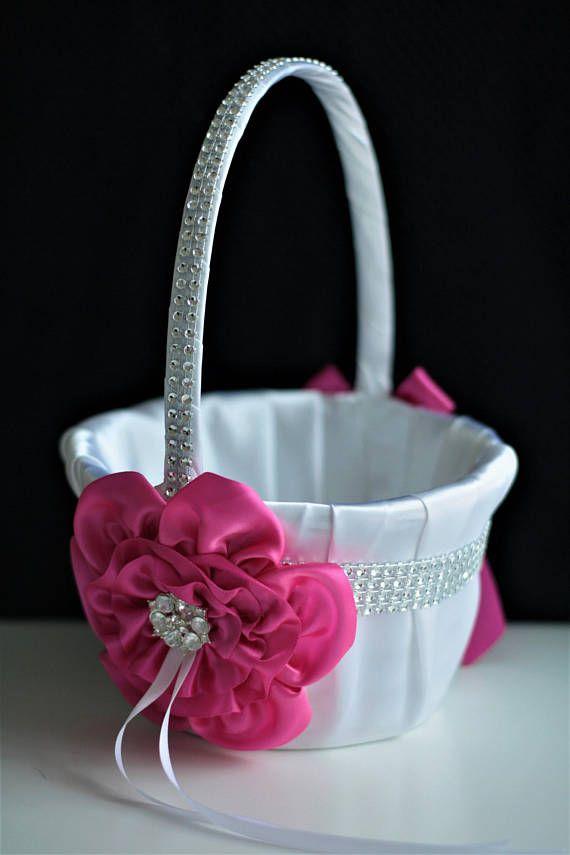 Fuchsia flower girl basket hot pink wedding basket bling fuchsia flower girl basket hot pink wedding basket bling mightylinksfo