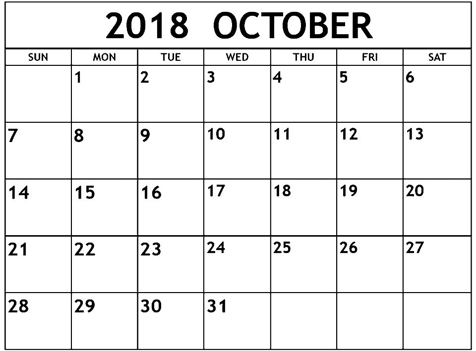 Printable Calendar October 2018 Month October 2018 Calendar