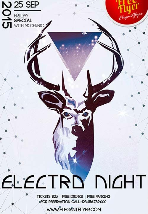 Free Electro Night Sports Flyer Template -    freepsdflyer - free sports flyer templates