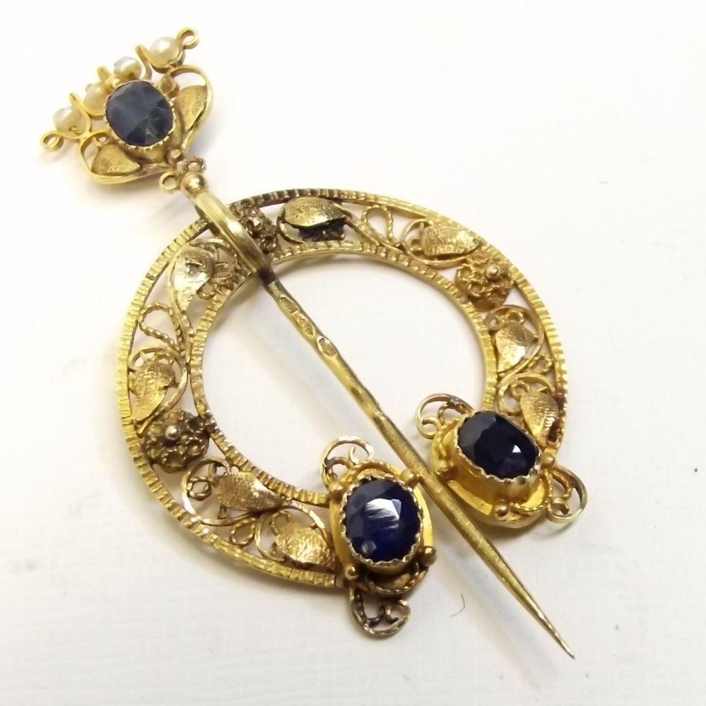 Antique 18k Gold Shawl Pin Brooch Sapphire Seed Pearl Celtic Filigree Penannular